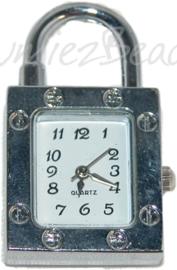00266 Horlogekastje hangslot Zilverkleurig 37mmx23mm