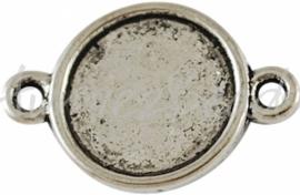 00327 Tussenstuk kastje Antiek zilver (Nickel vrij) 18mmx12mm; inner 10mm