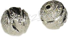 01186 Stardust kraal Zilverkleurig 10mm; gat 2mm 5 stuks