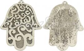 00160 Hanger Hamsa Hand Antiek zilver (Nikkel vrij) 1 stuks