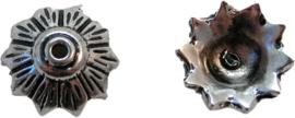 01494 Kralenkap blad Antiek zilver (Nikkelvrij) 5mmx13mm 6 stuks