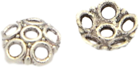 04479 Kralenkap 6-blad Antiek zilver (Nikkelvrij) 6mmx2mm; gat 1mm ±25 stuks