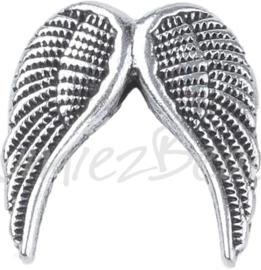 00995 Spacer vleugel Antiek zilver (Nickel vrij) 19mmx19mmx5mm; gat 2mm 3 stuks