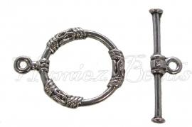 01857 Kapittelslot bewerkt Antiek zilver (Nickel vrij) 22mmx18mm