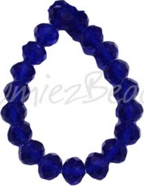 03897 Glaskraal imitatie swarovski faceted Abacus streng (±20cm) Donker blauw 10mmx14mm 1 streng