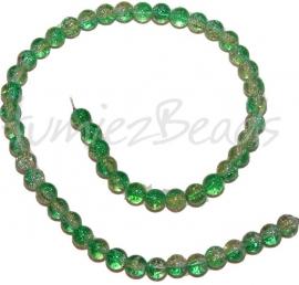 03250 Glaskraal crackle streng ±40cm Groen-geel 8mm 1 streng