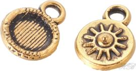 02634 Bedel zonnestraal Antiek goud (Nikkelvrij) 11x9x2mm; gat 1,5mm 9 stuks