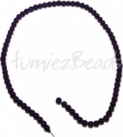 03498 Glaskraal streng (±40cm) imitatie jade Paars 6mm 1 streng