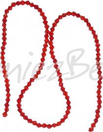 03986 Glaskraal imitatie swarovski Bicone streng ±40cm red 4mm  1 streng