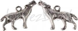 00188 Bedel wolf Antiek zilver (Nikkel vrij)