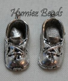 02917 Bedel babyschoentje Antiek zilver (Nikkelvrij) 15mmx7mm 3 paar