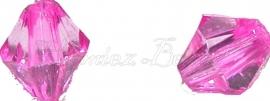 01248 Acryl kraal facet bicone Roze 6mmx6mm 20gram