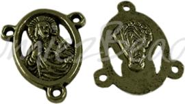 02647 Tussenstuk religieus Antiek brons (Nikkelvrij) 18mmx15mmx2,5mm; gat 1,5mm 7 stuks