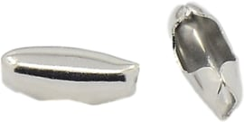 01537 Metaal klemmetje voor ball-chain  Metaalkleurig (Nikkelvrij) 5mmx2,5mmx2mm; voor 1,5mm ball chain 12 stuks