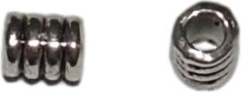 02644 Spacer Ribbel Antiek zilver (Nikkelvrij) 8x3,5mm; gat 2mm 25 stuks