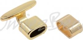 02772 Sluiting leerkoord Rose goud 23mmx19mmx8mm; 14mmx8mmx8mm; gat 4,5mmx10mm 1 stuks