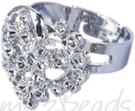 04231 Ring (verstelbaar) hart voor strass Metaalkleurig (Nikkelvrij) 17mmx19mm; Ø 18mm 1 stuks
