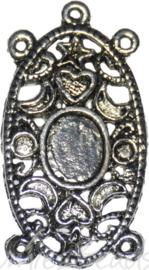 00109 Verdeler Ovaal 2-3 gaats geschikt voor cabochon Antiek zilver (Nikkelvrij) 2 stuks