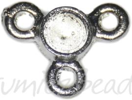 02244 Verdeler plaksteen setting; geschikt voor similisteen pp24 Antiek zilver (Nikkelvrij) 12mmx9mmx2mm 15 stuks