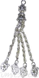 03082 Hanger flosje met blaadjes Antiek zilver 72mmx9mm; gat oogje 2,4mm 1 stuks
