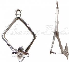 02591 Hanger voor kraal Zilverkleurig 26mmx15mm; pin 2x2mm 3 stuks