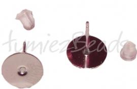 02110 Oorbel plaksteen Metaalkleurig (Stainless steel) 12mmx0,8mm; setting 10mm 3 paar