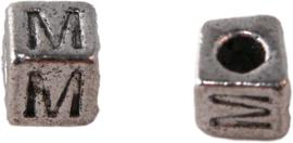 01165 Vierkante letterkraal M Antiek zilver