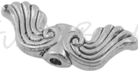 02068 Spacer vleugel Antiek zilver (nikkelvrij) 18mmx8mm; gat 1,5mm 7 stuks