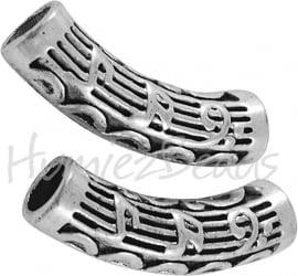 00834 Buiskraal muzieknoot Antiek zilver (Nickel vrij) 34mmx12mm; gat 6mm 1 stuks