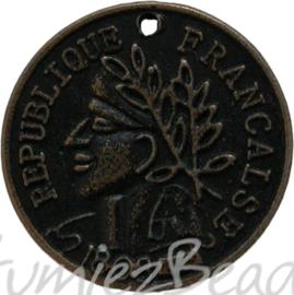 00858 Anhänger münze Bronzefarbe 19mm