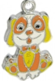 01212 Bedel hond enamel Metaalkleurig / mix color 27mmx16mm