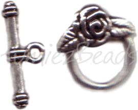 00024 Kapittelslot opzet roos Antiek zilver (nikkel vrij) 3 stuks
