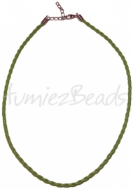 LKG-0006 Ketting gevlochten Groen 3mm; 43cm 1 stuks