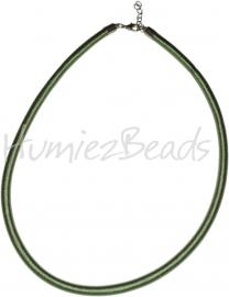 Silk-5012 Ketting Zijde koord Groen ±45cm (Zonder verlengketting) 1 stuks