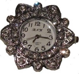 00347 Horloge bling Metaalkleurig/Chrystal  1 stuks