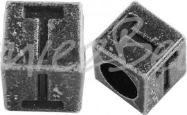 01172 Vierkante letterkraal T Antiek zilver