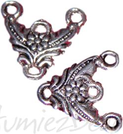 04192 Verdeler blad Antiek zilver (Nikkelvrij) 14mmx15mmx2mm; oog 1,5mm 5 stuks