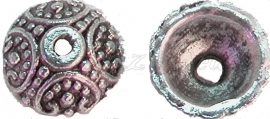 00554 Kralenkap free Antiek zilver (Nikkel vrij) 4mmx10mm 9 stuks