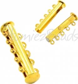 03818 Magneetschuifslot 5-rings Goudkleurig 30mmx10mm 1 stuks