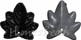 01379 Acryl bedel blaadje Zwart/grijs 26mmx24mm 15 stuks