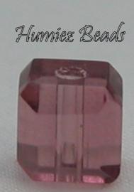 02719 Glaskraal vierkant facet geslepen Roze 6mm 12 stuks