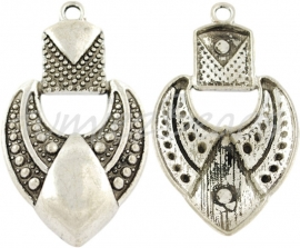 00205 Hanger chique hart Antiek zilver (Nikkel vrij) 1 stuks