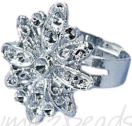 04233 Ring (verstelbaar) bloem voor strass Metaalkleurig (Nikkelvrij) 25mmx20mm; Ø 18mm 1 stuks