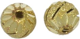 01355 Stardust kraal  Goudkleurig (Nikkelvrij) 11mmx12mm; gat 1,5mm 4 stuks