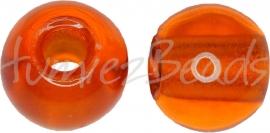 02691 Tsjechische glaskraal Oranje 9mmx11,5mm; gat 4mm 5 stuks
