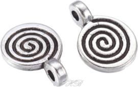 00297 Bedel Spiraal Antiek zilver (Nikkelvrij) 12x8x1,5mm; gat 1mm 12 stuks