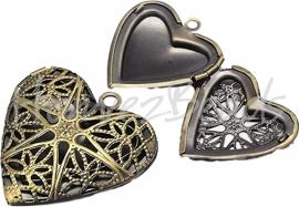 00830 Fotokastje hart Antiek brons 26mmx26mmx7mm; inner 19mmx18mm 1 stuks