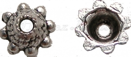00306 Kralenkap zon Antiek zilver (Nikkel vrij) 15 stuks