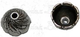 01584 Kralenkap graancirkel Antiek zilver (Nikkelvrij) 6mmx8mm 9 stuks