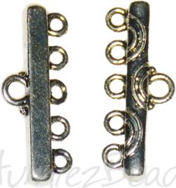 04146 Verdeler 1-5gaats Antiek zilver 11mmx28mm; oog 2,5mm 4 stuks